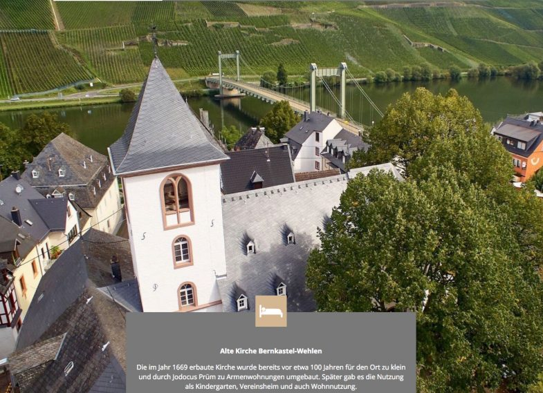 Old Church of Bernkastel-Wehlen on the banks of the Mosel river